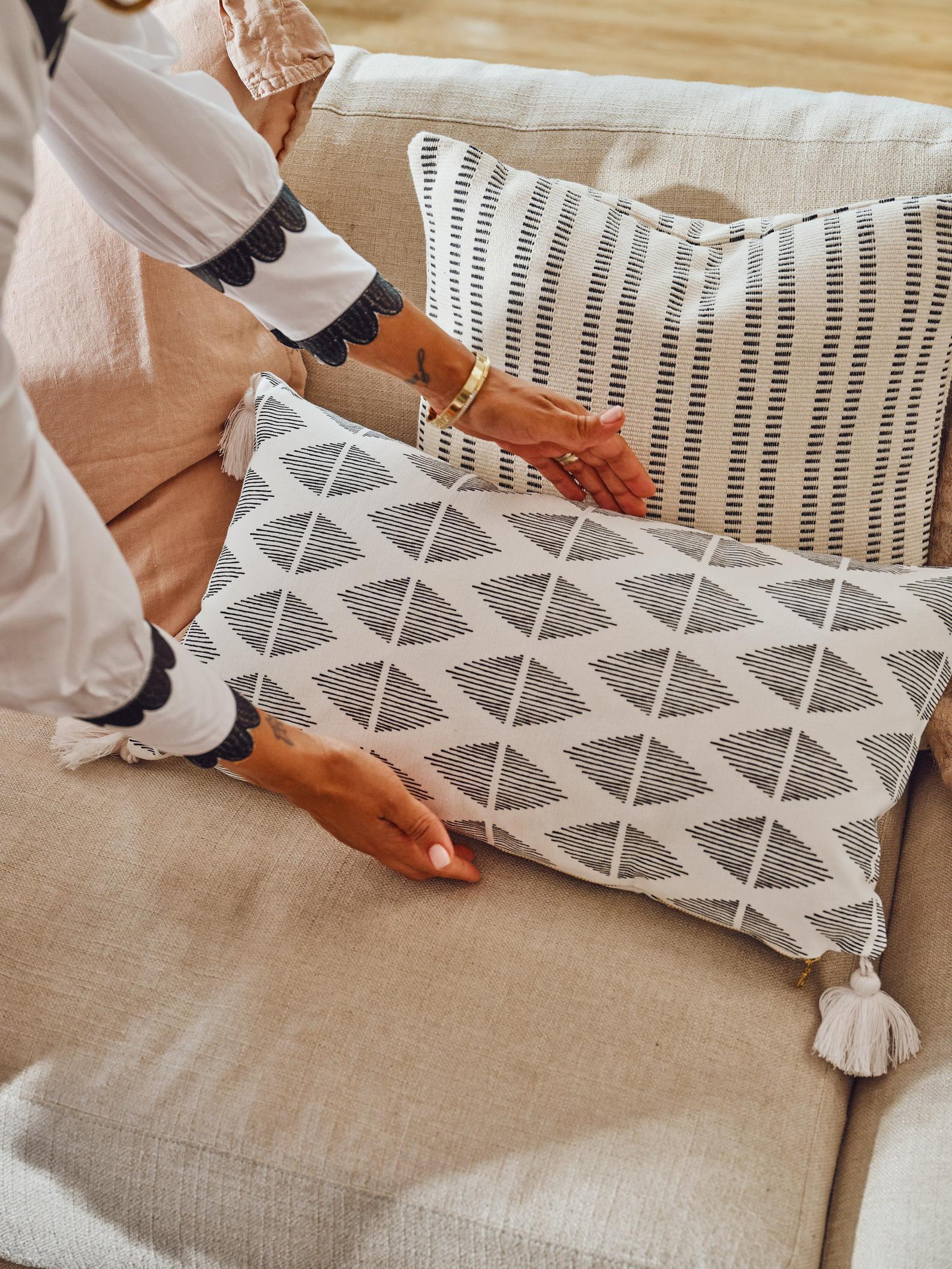 Tia Mowry x Etsy, Geo Tassel Lumbar Throw Pillow Cover with Brass Zipper