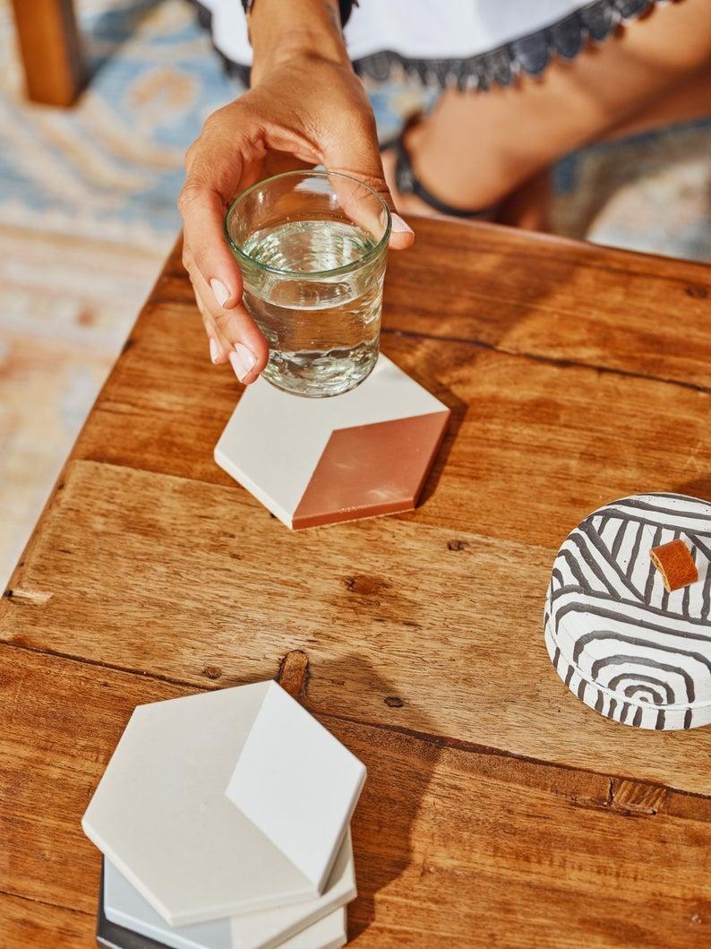 Tia Mowry x Etsy Hexagon Concrete Coasters