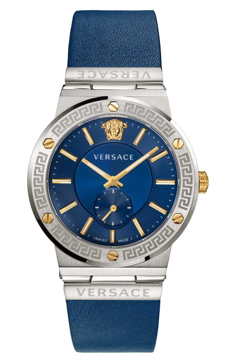 Versace Greco Leather Strap Men's Watch, 41mm