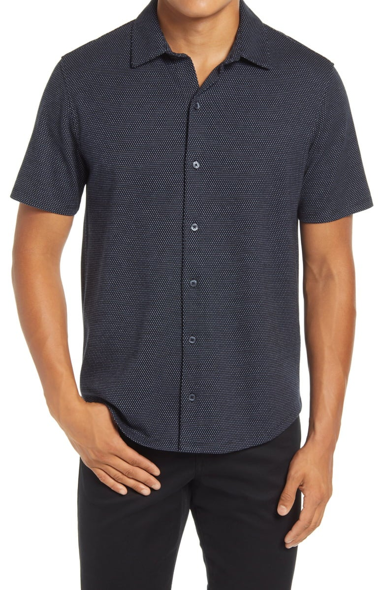 Vince Slim Fit Dot Print Short Sleeve