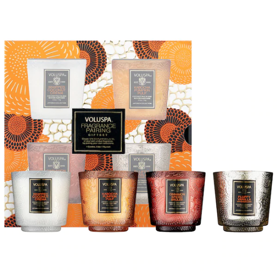 Voluspa Mini Spiced Pumpkin Latte Candle Pairing Gift Set