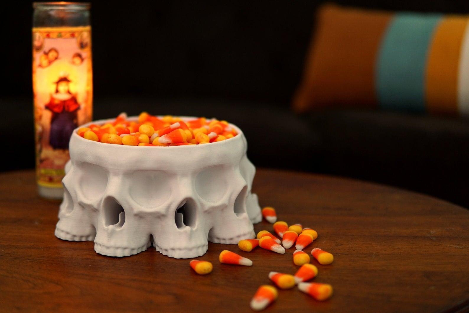 etsy halloween decor 3D Printed Polyskull Bowl