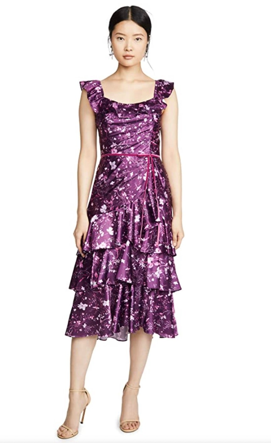 Marchesa Notte Women's Sleeveless Printed Charmeuse Cocktail Dress