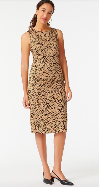 J.Crew Sheath Dress In Leopard Bi-Stretch Cotton