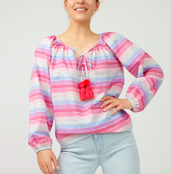 J.Crew Peasant Top In Metallic Pastel Stripe