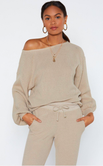 Nasty Gal Knit Happens Balloon Sleeve Sweater and Joggers Set