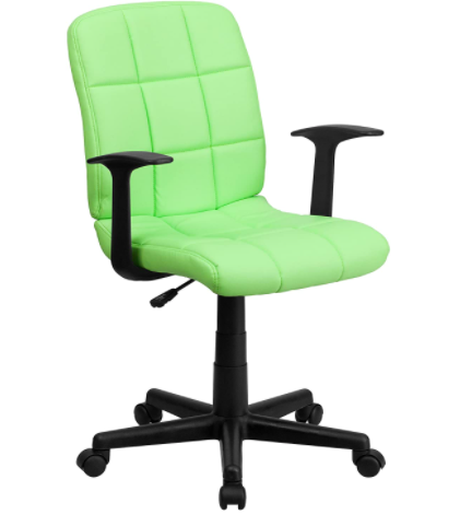 Flash Furniture Mid-Back Green Quilted Vinyl Swivel Task Office Chair with Arms
