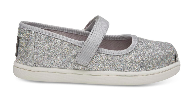 TOMS Silver Iridescent Droplets Tiny Mary Jane Slip-on