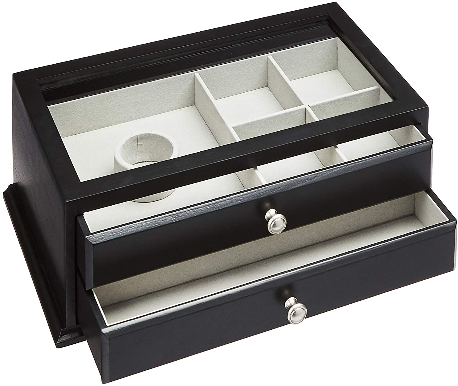 AmazonBasics Wooden Jewelry/Watch Box with Glass Top — 2-Drawer,Black