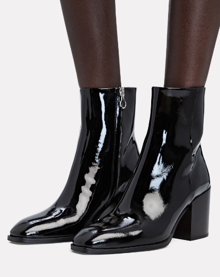Ayede Leandra Patent Leather Ankle Booties