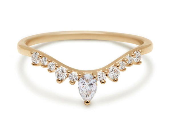 Anna Sheffield Pear Diamond Celestine Band Ring in Yellow Gold