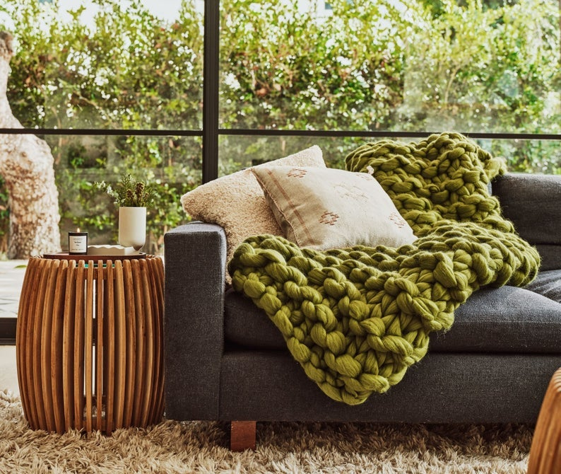 EVO Knit Tan France x Etsy Chunky knit blanket