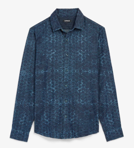 Express Slim Geometric Print Denim Shirt