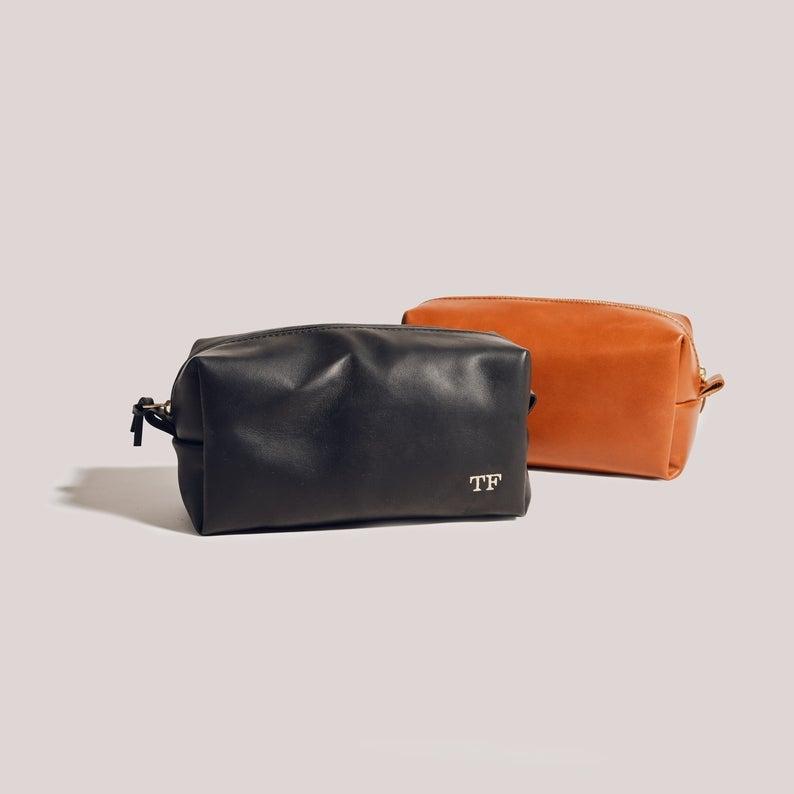 Felix Street Leather Tan France x Etsy Leather Toiletry Bag