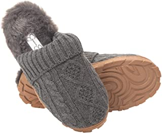 Jessica Simpson Women's Soft Cable Knit Slippers With Indoor/Outdoor Sole