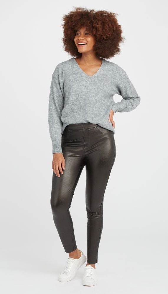 Leather-Like Ankle Skinny Pant