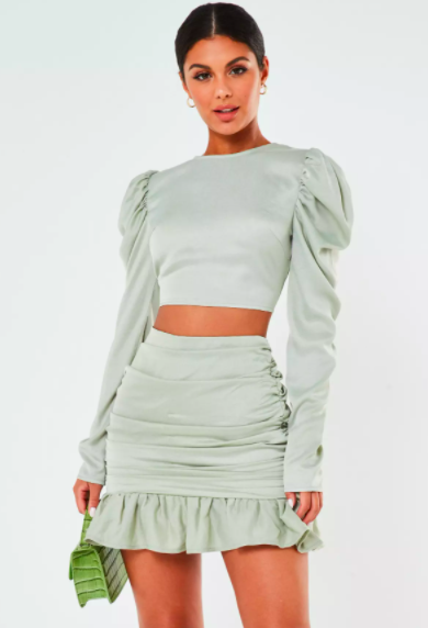 Missguided Mint Co Ord Satin Puff Sleeve Crop Top & Satin Ruched Frill Mini Skirt