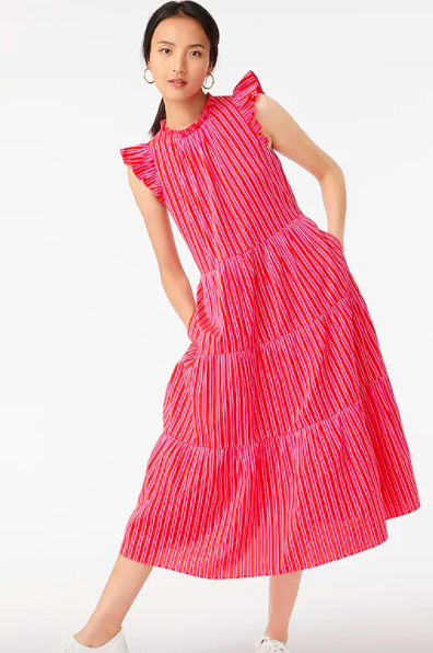 J.Crew Tiered Cotton Dobby Dress In Cape Stripe