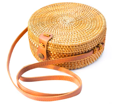 Handwoven Round Rattan Bag Shoulder