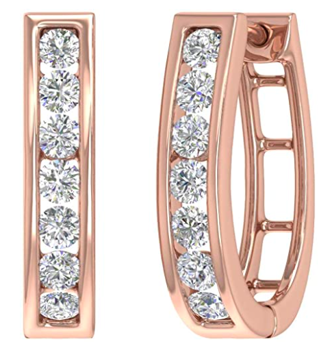 Finerock 1 Carat Channel Set Diamond Women's Hoop Earrings in 14K Solid Gold