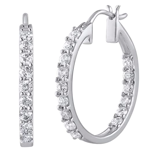 Finerock 1 Carat Diamond Inside Out Hoop Earrings in 10K Gold