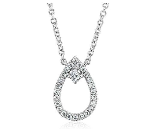 Blue Nile Diamond Petite Pear with Accent Pendant in 14k White Gold