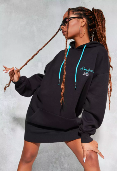 Sean John x Missguided Black Balloon Sleeve Oversized Hoodie Dress