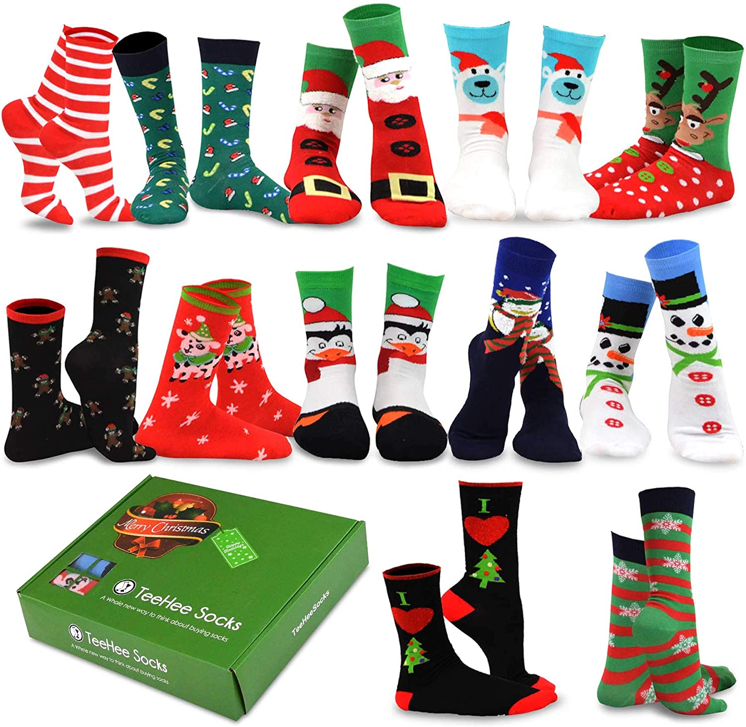 TeeHee Seasonal Holiday Socks, 12-Pair with Gift Box