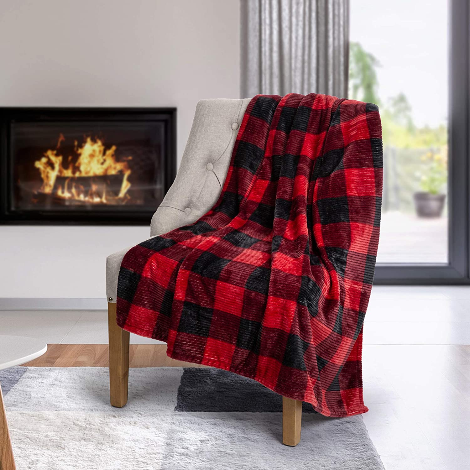 Safdie & Co. Throw Flannel Printed Ribbed 50x60 Red Plaid