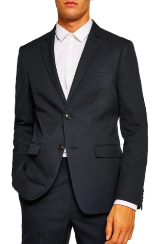 Topman Skinny Fit Textured Suit Jacket