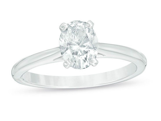 Zales 1-ct Certified Oval Diamond Solitaire Engagement Ring in 14k White Gold (I/I2)