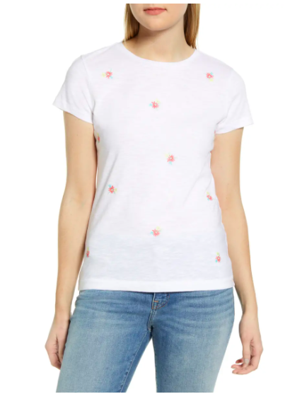 Caslon Floral Embroidered T-Shirt