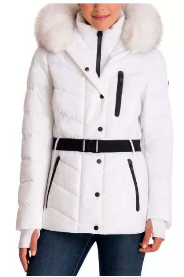 Michael by Michael Kors Belted Faux-Fur Trim Hooded Puffer Coat
