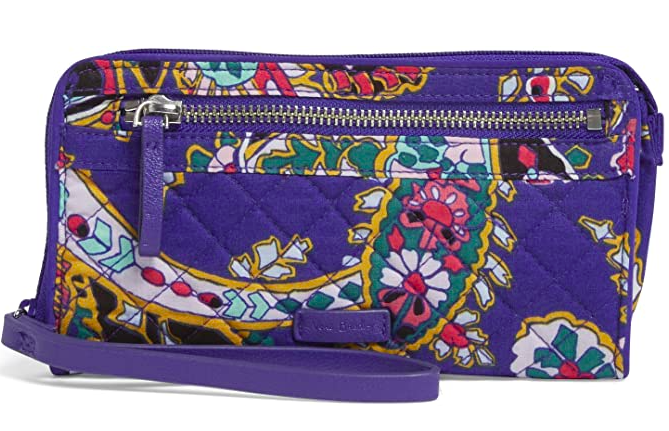Vera Bradey Signature Cotton Front Zip Wristlet with RFID Protection
