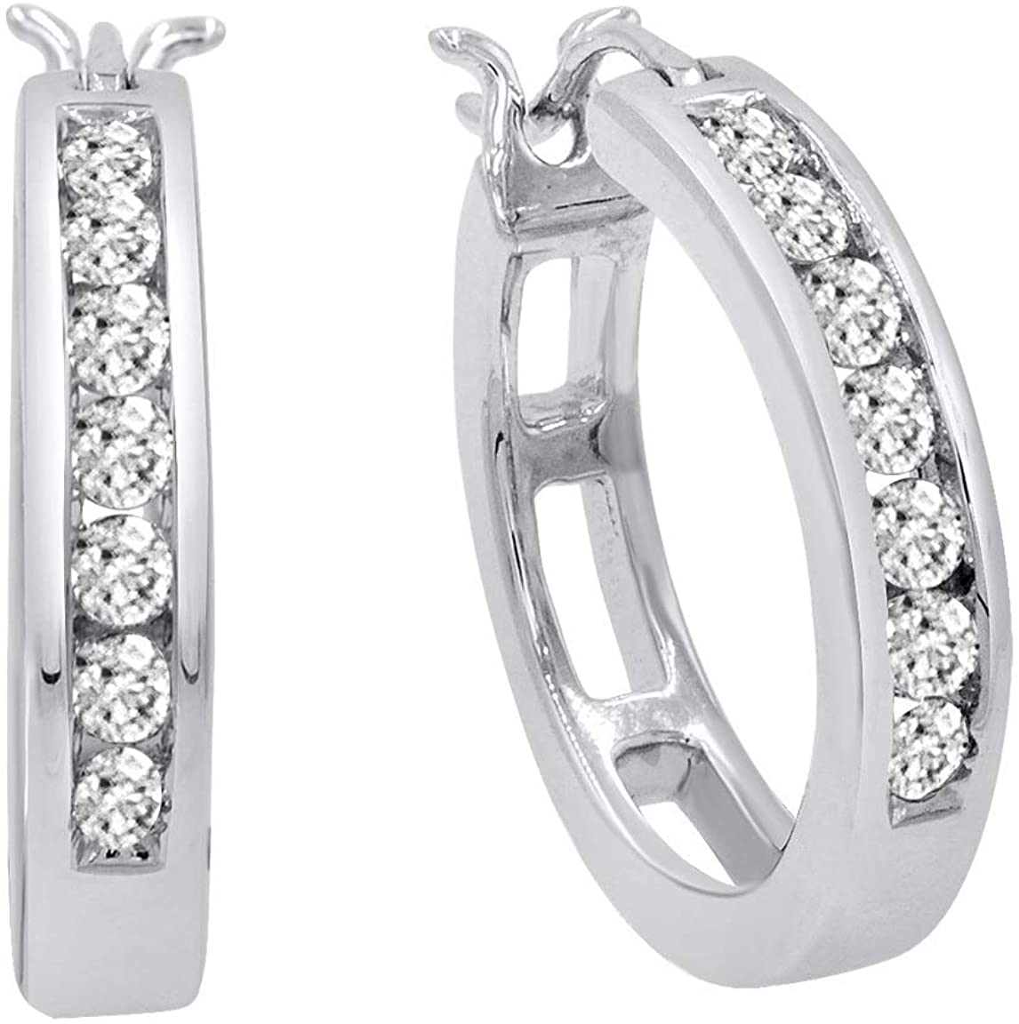 AGS Certified 1/2ct TW Diamond Hoop Earrings