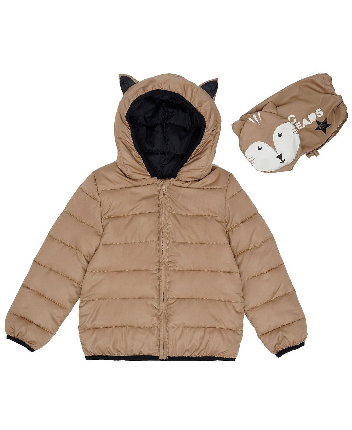 Epic Threads Little Boys Fox Hooded Full Zip Packable Jacket with Matching Bag