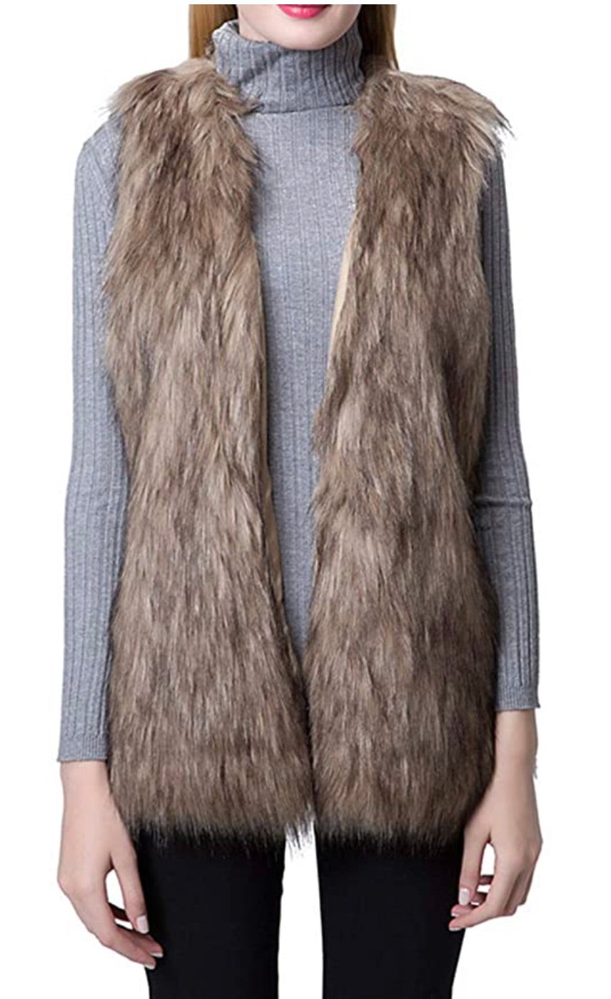 Escalier Women's Faux Fur Vest Waistcoat Sleeveless Jacket