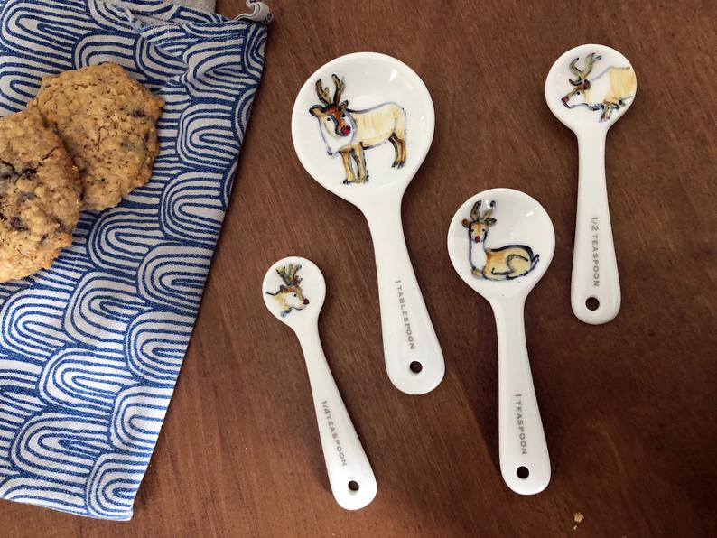 Half Baked Harvest x Etsy Holiday Reindeer Ceramic Measuring Spoons