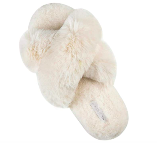 Halluci Cross Band Soft Plush Fleece House Indoor or Outdoor Slippers