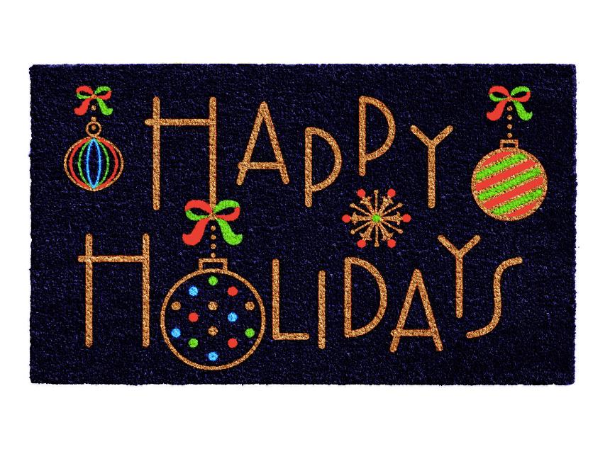 Happy Holidays Rectangular Outdoor Doormat