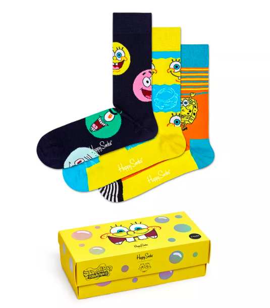 Happy Socks SpongeBob SquarePants Cotton-Blend Crew Socks Gift Box, Pack of 3