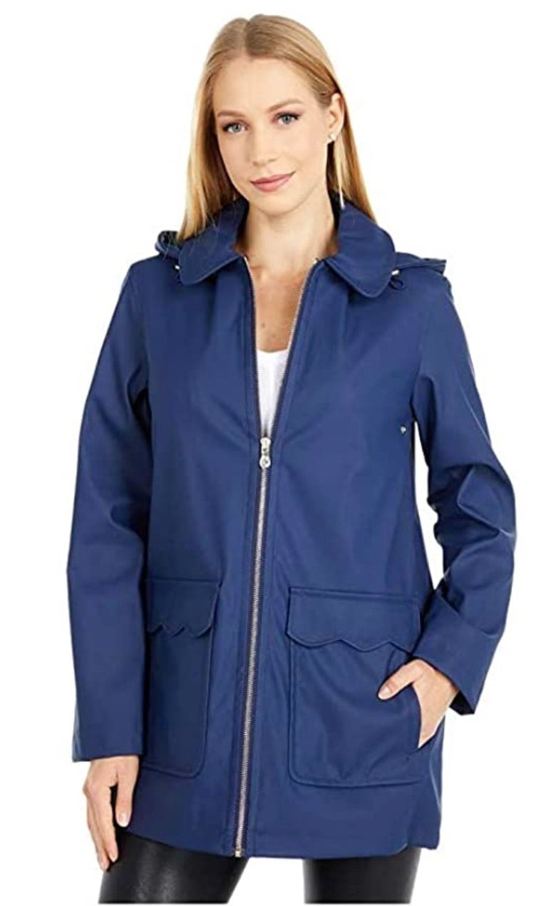 Kate Spade New York Scallop Pocket Matte Rain Jacket