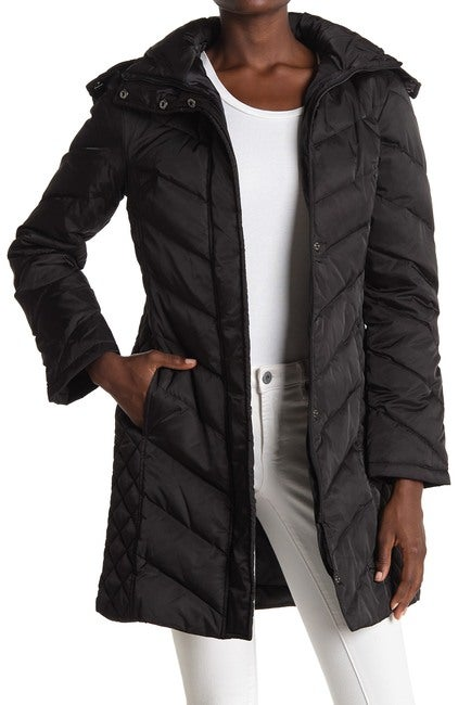 Kenneth Cole Faux Fur Trimmed Removable Hood Quilted Down Puffer Jacket