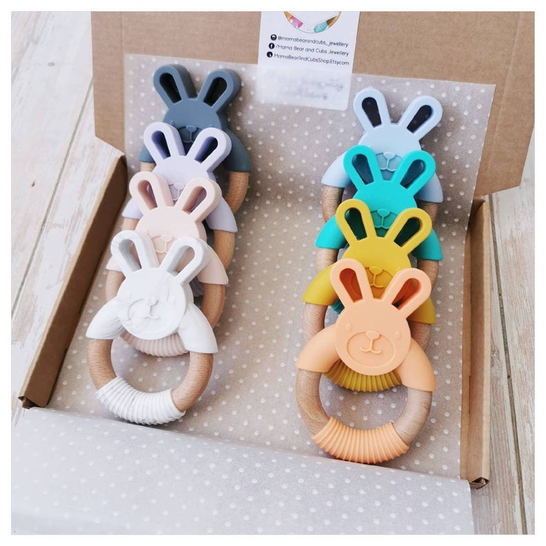 Mama Bear & Cubs Bunny Silicone and Natural Wood Teether