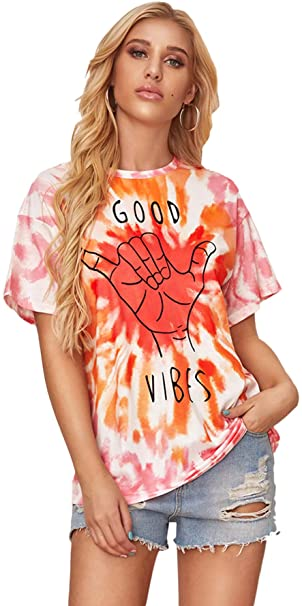 Milumia Women's Tie Dye Oversizes Tee Shirts Casual Loose Fit