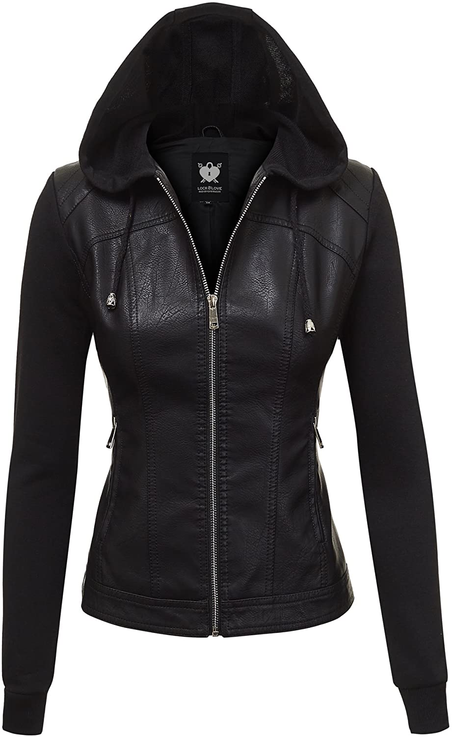 Lock and Love Women's Removable Hooded Faux Leather Moto Biker Jacket