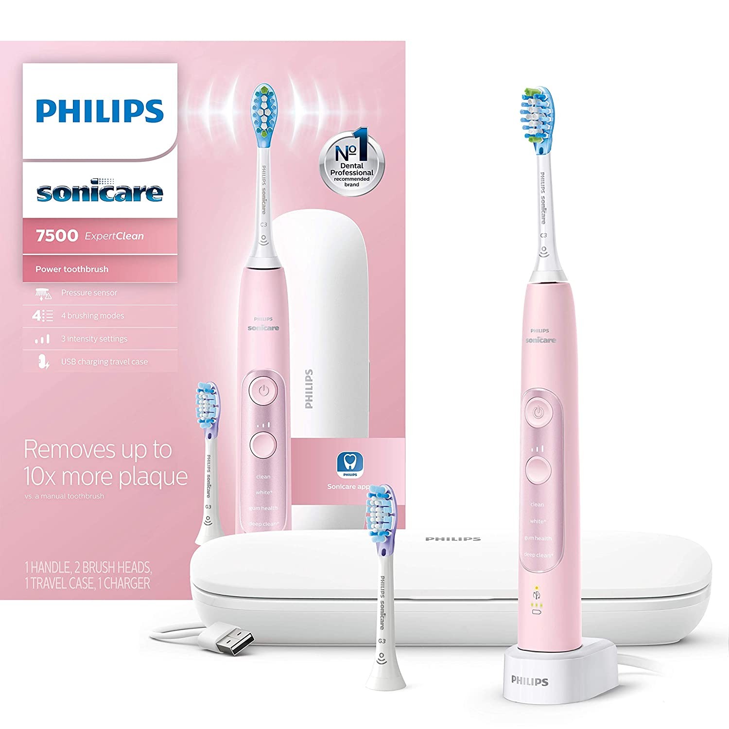 Philips Sonicare HX9690/07 ExpertClean 7500 Bluetooth Rechargeable Electric Toothbrush Pink