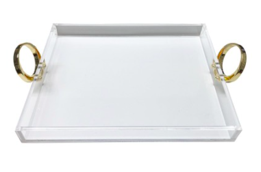 R16 Home Large Clear Tray With Gold Ring