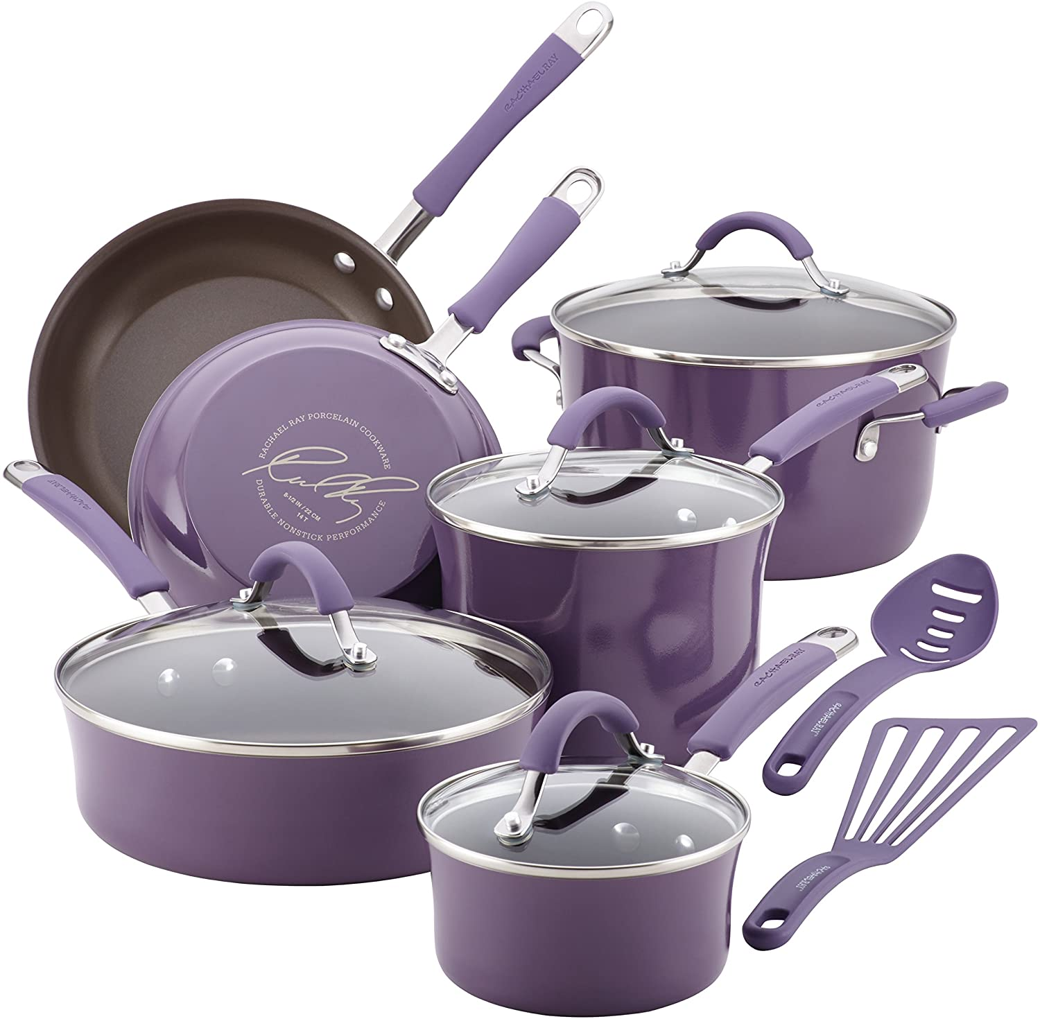 Rachael Ray Cucina Nonstick Cookware Pots and Pans Set, 12 Piece