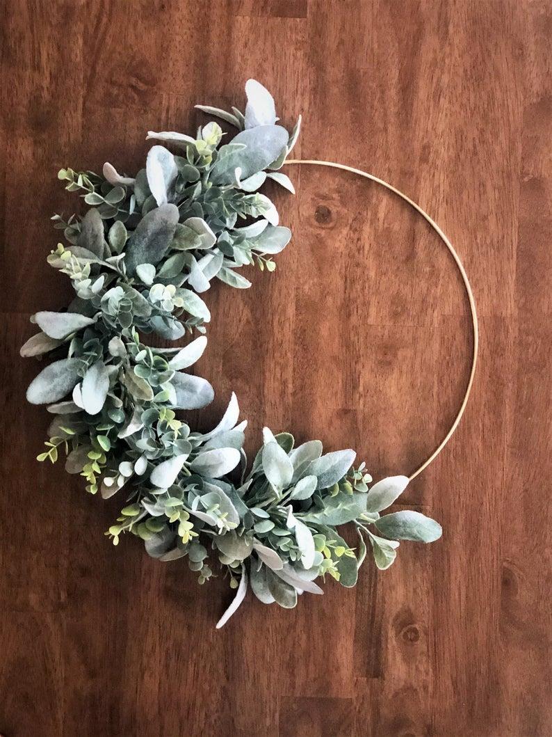 Ribbon and Vine Co. Boho Gold Hoop Wreath